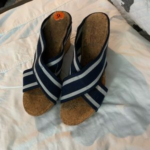 Navy and white Cork wedges